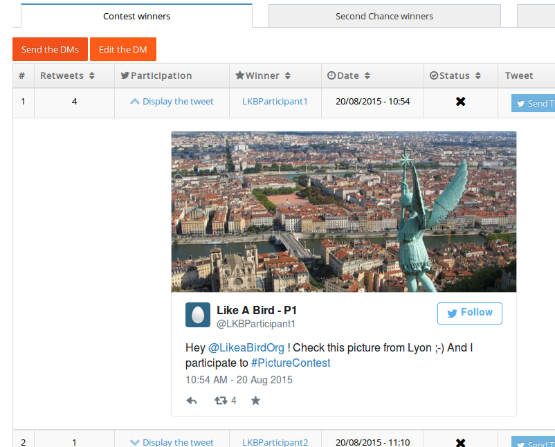 Vous pouvez afficher chaque tweet depuis l'outils