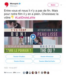 Campagne Twitter Monoprix : Lait drôle la vie