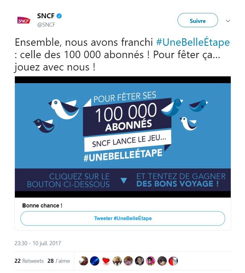 Image du tweet d'annonce SNCF