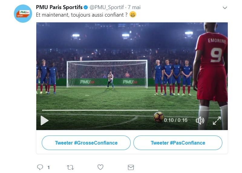 Image de la dernière question de PMU sur un stade de foot